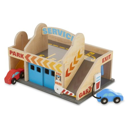 Melissa & Doug Service Station Parking Garage With 2 Wooden Cars and Drive-Thru Car