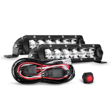 Nilight 2PCS 7 Inch 30W Super Slim Spot Led Light Bar Driving Fog Light Single Row Off Road led Lights and Off Road Wiring Harness- 2 Leads, 2 Years Warranty