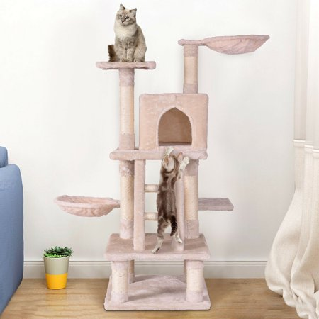 Gymax 46'' Cat Tree Kitten Pet Play House Furniture Condo Scratching Posts Rope