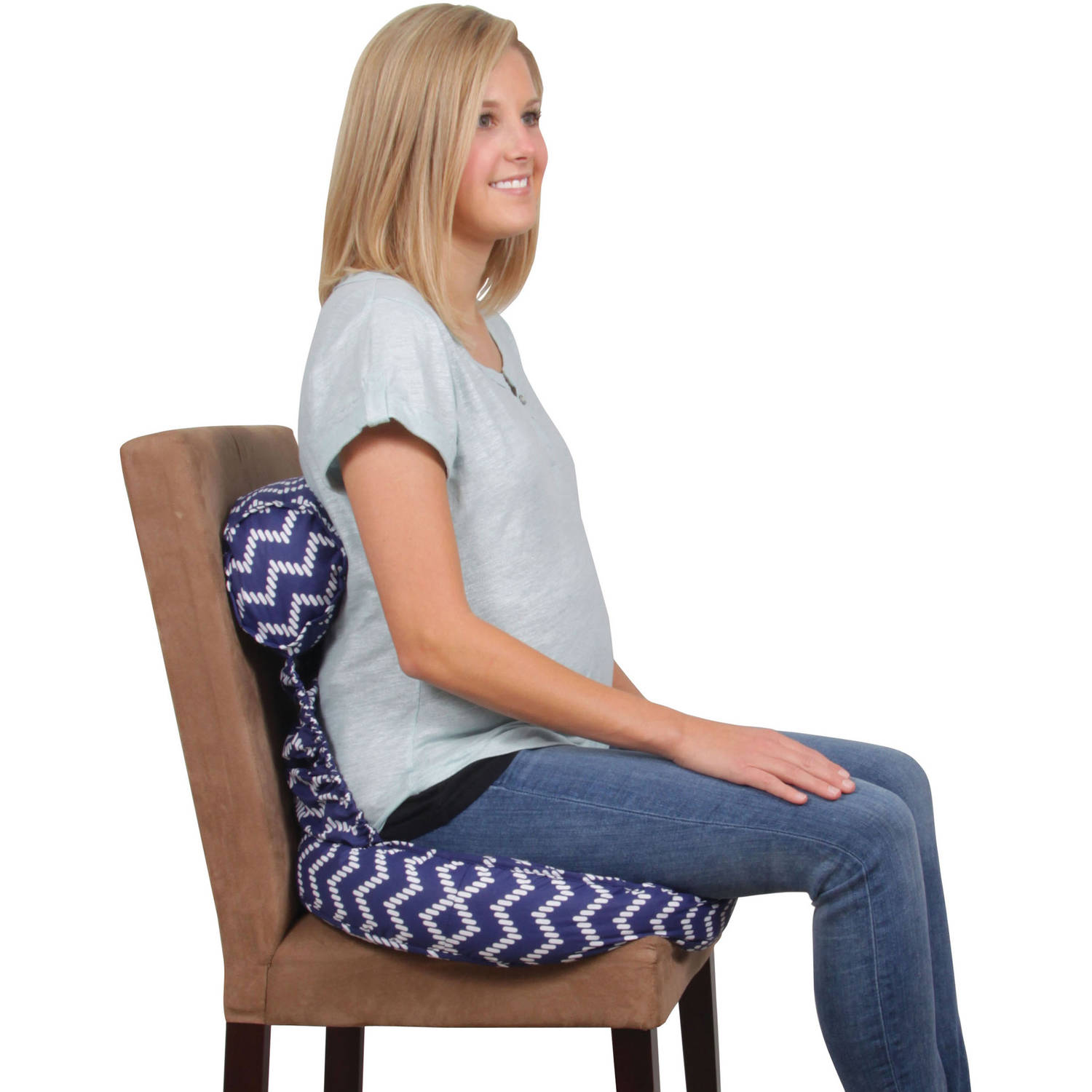 Leachco Tushion Cushion Maternity Soft Seat, Chevron Navy