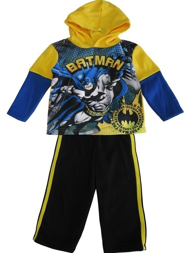 DC Comics Little Boys Yellow Black Batman Hooded Top 2 Pc Pant Set