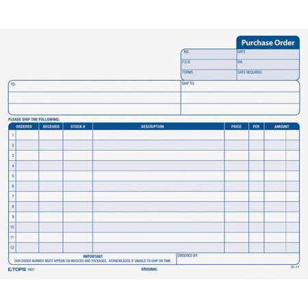 - TOPS, TOP3821, Carbonless Purchase Order Forms, 50 / Pack, White,Canary,Pink
