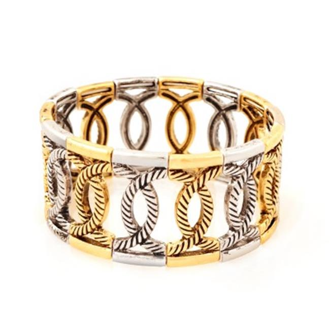 C Jewelry Gold And Silver Twisted Loop Stretch Bracelet