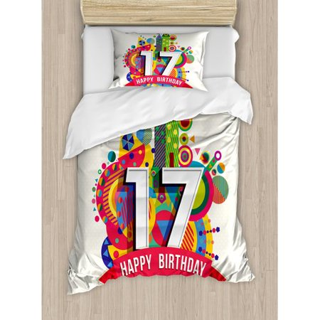 Ambesonne 17th Birthday Decorations Duvet Cover Set