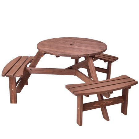 Costway Patio 6 Person Outdoor Wood Picnic Table Beer Bench Set Pub Dining Seat (2 In 1 Picnic Table Bench Plans)