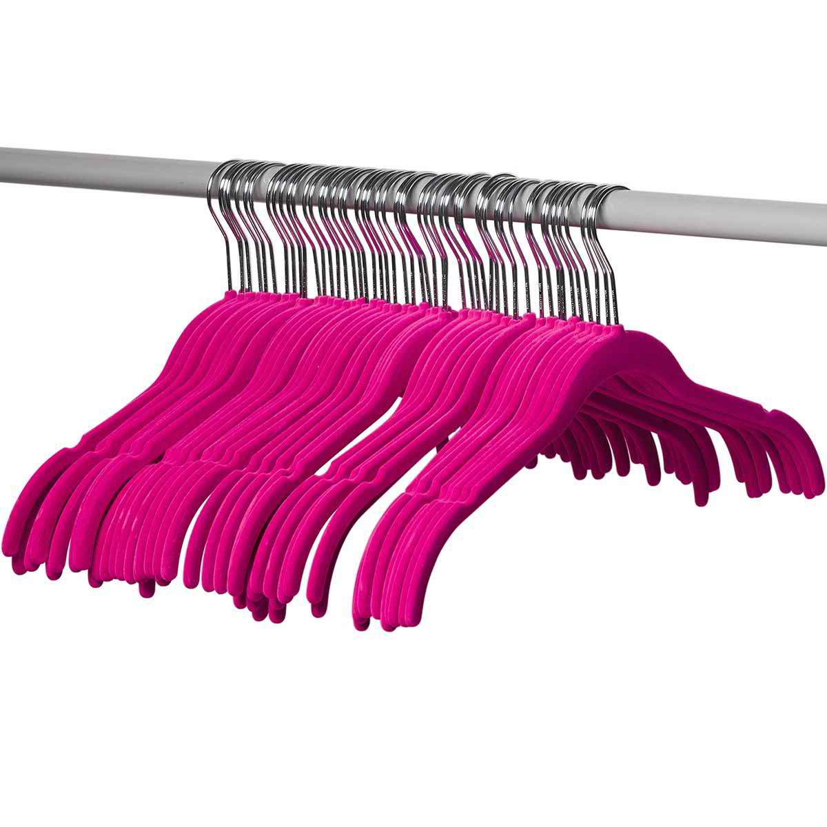 50 Pack Shirt and dress Clothes Hangers PINK Velvet Hangers Ultra Thin No Slip