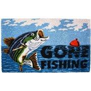DII Gone Fishing Vinyl Back Coir Doormat