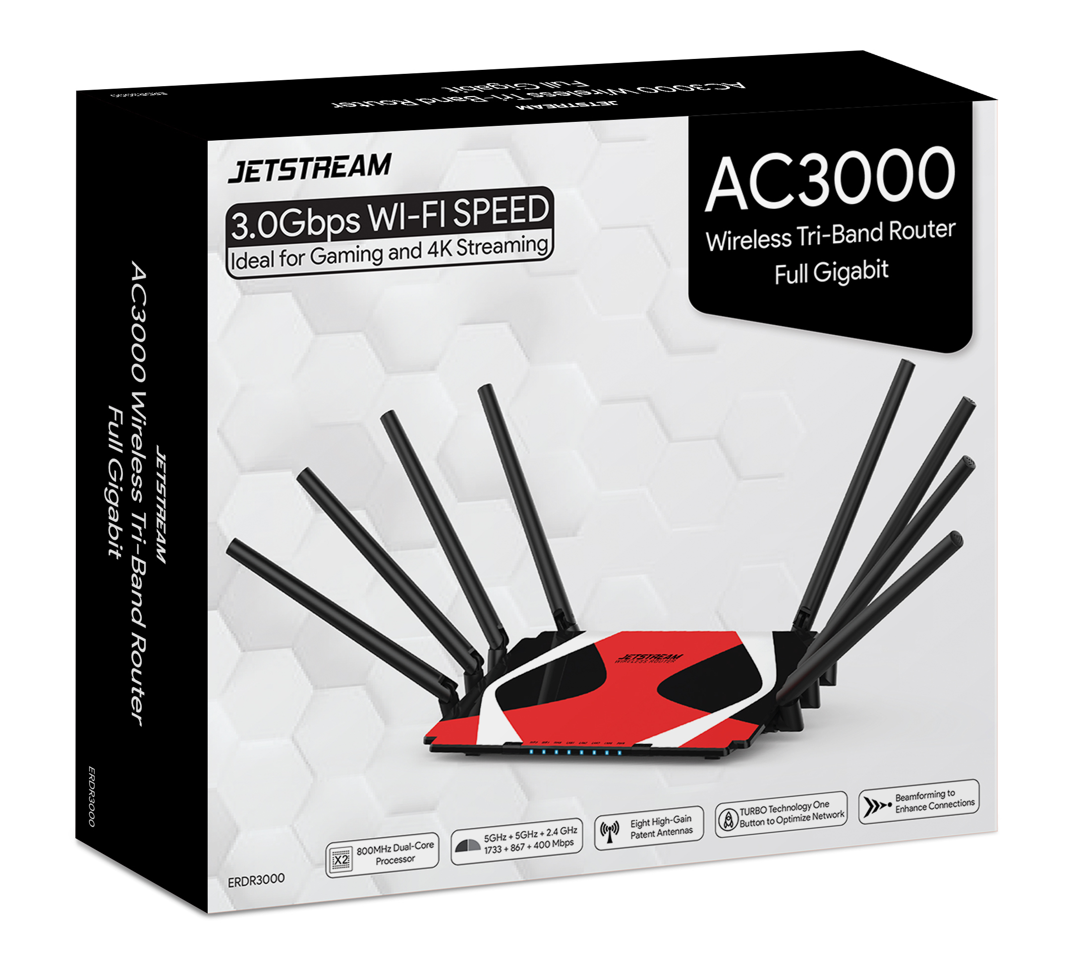 Jetstream AC3000 Tri-Band WiFi Gaming Router with 1GB RAM and 800 MHz Dual-Core Processing - Walmart Exclusive!