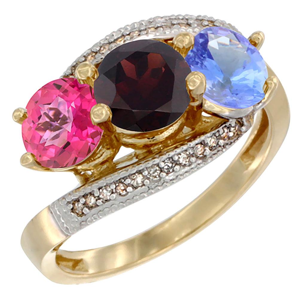 14K Yellow Gold Natural Pink Topaz, Garnet & Tanzanite 3 stone Ring Round 6mm Diamond Accent, size 6.5 by Gabriella Gold