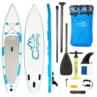 """Zimtown 11' x30"""" x6"""" Inflatable Stand Up Paddle Board Package, with Adjustable Paddle, Carry Backpack, Dual Action Pump, Fin, Repair Kit, and Coil Leash, Universal SUP Wide Stance for Paddling Surfing"""