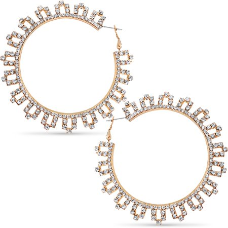 2a640438e Humble Chic NY - Rhinestone Hoop Earrings - Extra Large Simulated Diamond  Door Knocker Hoops for Women, 3 Inch - Gold-Tone, Large, Hypoallergenic -  Walmart. ...