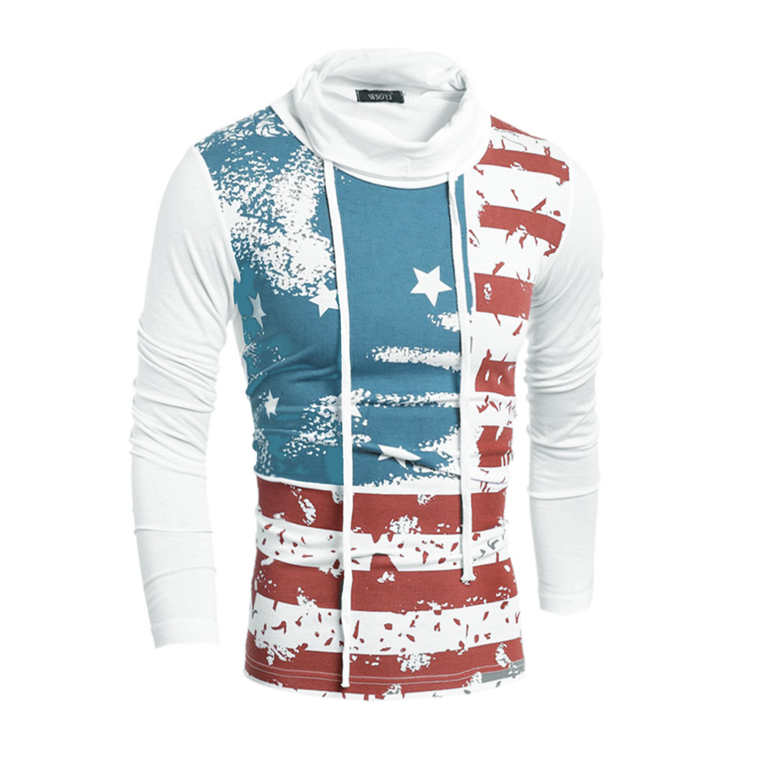 Men's Drawstring Turtle Neck Stripes Stars T-Shirt White S