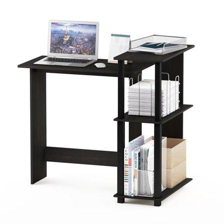 Furinno Abbott Corner Computer Desk with Bookshelf, Espresso/Black, 16086R1EX/BK