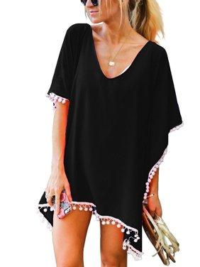 3620649938 Product Image Women Chiffon Tassel Bohemian Swim Cover Ups Bikini Tunic  Beach Dress Summer Casual Shirt Dress Irrgular