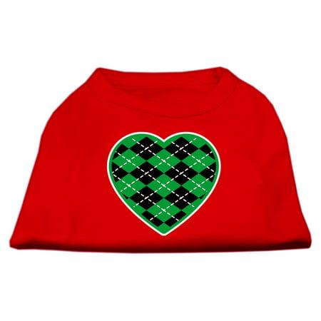 Argyle Heart Green Screen Print Shirt Red XXXL 20