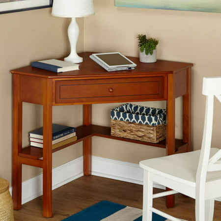Corner Writing Desk with Pullout Drawer and Shelf, Multiple Finishes Black Leaning Shelf Desk