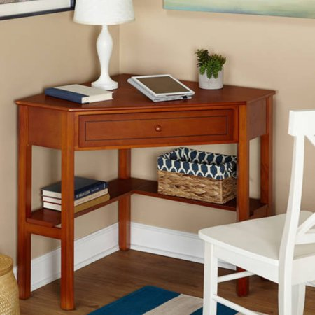 Corner Writing Desk with Pullout Drawer and Shelf, Multiple Finishes ()