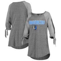 Dallas Mavericks Women's Open Shoulder Raglan Tri-Blend 3/4-Sleeve T-Shirt - Heathered Gray