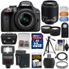 Nikon D3300 Digital SLR Camera & 18-55mm VR DX II (Black) + 55-200mm DX AF-S Lens + 32GB Card + Battery + Case + Tripod + Flash + Tele/Wide Lens Kit Nikon D3300 Digital SLR Camera<br> + 18-55mm VR II Lens Outfit <br>Creating beautiful photos and videos has never been more fun. Life is full of surprising, joyful moments -- moments worth remembering. The <b>Nikon D3300 Digital SLR</b> makes it fun and easy to preserve those moments in the lifelike beauty they deserve: stunning <b>24.2-megapixel photos</b> and <b>1080p Full HD videos</b> with tack-sharp details, vibrant colors and softly blurred backgrounds. Like sharing photos? The D3300 photos can appear instantly on your compatible smartphone or tablet for easy sharing with the <b>optional WU-1a Wireless Adapter</b>! Whether youre creating high-resolution panoramas, adding artistic special effects or recording HD video with sound, the D3300 will bring you endless joy, excitement and memories -- just like the special moments of your life. This camera outfit includes the versatile <b>AF-S DX NIKKOR 18-55mm f/3.5-5.6G VR II</b> lens which delivers the sharpest, most color-rich results imaginable. Optimized for Nikons new high-resolution DX-format image sensors, it borrows the ultra-compact retractable lens barrel design from the Nikon 1 system. Nikons remarkable <b>Vibration Reduction</b> technology provides 4 stops of blur-free handheld shooting -- enjoy crisp, clear images even if your hands are a bit unsteady and shoot at slower shutter speeds in low-light situations. <br><br><b>Key Features:</b><br> <b>Create stunning lifelike photos and HD videos</b><br> Taking snapshots with a smartphone is convenient, but are those photos good enough for preserving precious moments? The D3300s new EXPEED 4 lets you shoot at high speeds up to 5 frames per second, shoot in low light with high ISO sensitivity, create high-resolution panoramas and much more. Your 24.2-megapixel photos and 1080p Full HD videos will be so impressive, so rich with detail+ and color -- so lifelike -- theyll bring back the feelings of the moments they capture. <b>Compact, lightweight and reliable</b><br> The D3300 is a small and light HD-SLR camera even when paired with the included AF-S DX NIKKOR 18-55mm f/3.5-5.6G VR II lens, which has a new ultra-compact design. The combination is designed to fit comfortably in your hands, and all of the D3300s buttons and dials are positioned for convenient, efficient operation. Youll take the D3300 everywhere you go, which means youll bring home all the beautiful memories of your activities. <b>Focus on the details</b><br> The D3300s 11-point Autofocus System locks onto your subjects as soon as they enter the frame and stays with them until you catch the shot you want. Even fast-moving subjects are captured with tack-sharp precision. And when youre recording Full HD video, Full-time Autofocus keeps the focus where you want it. <b>Spectacular panoramas, Guide Mode and fun Special Effects</b><br> Using the D3300 is super easy -- and a blast. Cant get the whole scene into your frame? Turn on Easy Panorama Mode and pan across the scene -- the D3300 will capture the entire view as a high-resolution panoramic image. Its that easy! Guide Mode gives step-by-step help when you need it (its like having an expert at your side), and you can easily get creative with built-in Image Effects, filters and more. <b>Enjoy the view</b><br> Like all D-SLR cameras, the D3300 has an optical viewfinder that gives you a true view through the lens of the camera -- and what a view it is! If youve been using a point-and-shoot camera, youll find it easier to frame your shots, follow moving subjects, zoom in on bright sunny days and more. <b>Catch every moment</b><br> When the action starts, hold down the shutter button to capture every movement, expression and feeling at 5 frames per second -- thats 5 beautiful photos for every second of action! You wont believe some ot 5 frames per second -- thats 5 beautiful photos for every second of action! You wont believe some of the moments youll catch thanks to Nikons new high-speed EXPEED 4 processing engine.