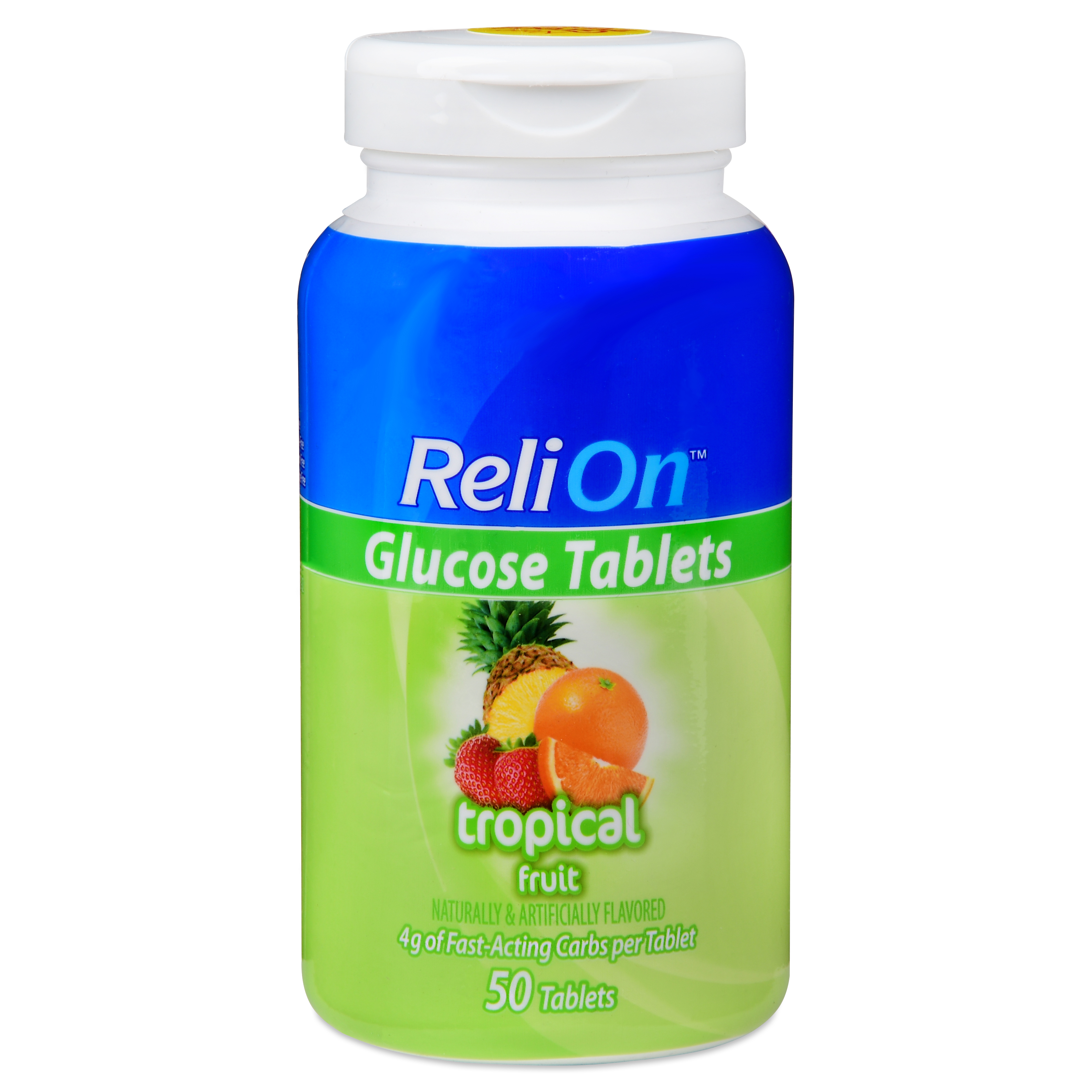 ReliOn Tropical Fruit Glucose Tablets, 50 Ct