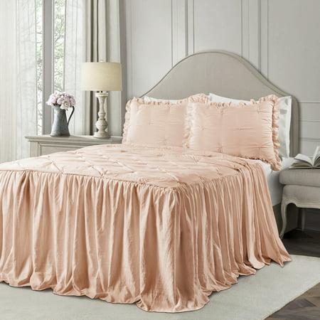 Ravello Pintuck Ruffle Skirt Bedspread Blush 3Pc Set King