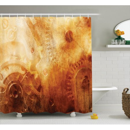 Industrial Decor  Background Of Ancient Machinery Mechanism In Retro Colors Historical Rust Motion Concept  Bathroom Accessories  69W X 84L Inches Extra Long  By Ambesonne