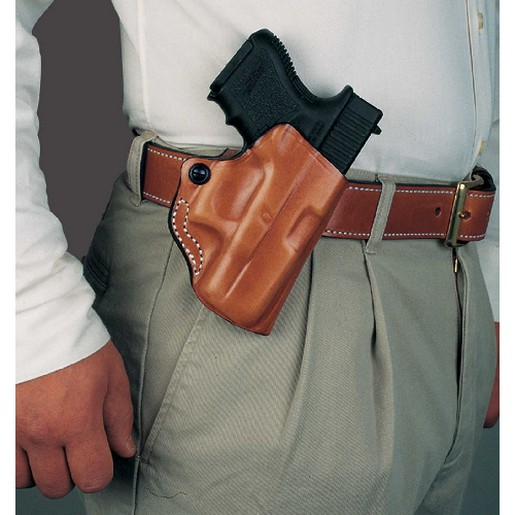 Image of DeSantis 019TAQ5Z0 Mini Scabbard Belt Holster Tan Leather RH for Ruger LC9 LM