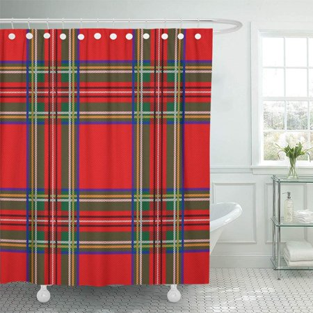 KSADK Green Fall Tartan Pattern Plaid Christmas Scottish Flat Style Design Red Scotland Shower Curtain 66x72 inch