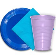 """50 Dark Blue Plastic Plates (9""""), 50 Lavender Plastic Cups (12 oz.), and 50 Aqua Paper Napkins, Dazzelling Colored Disposable Party Supplies Tableware Set for Fifty Guests."""