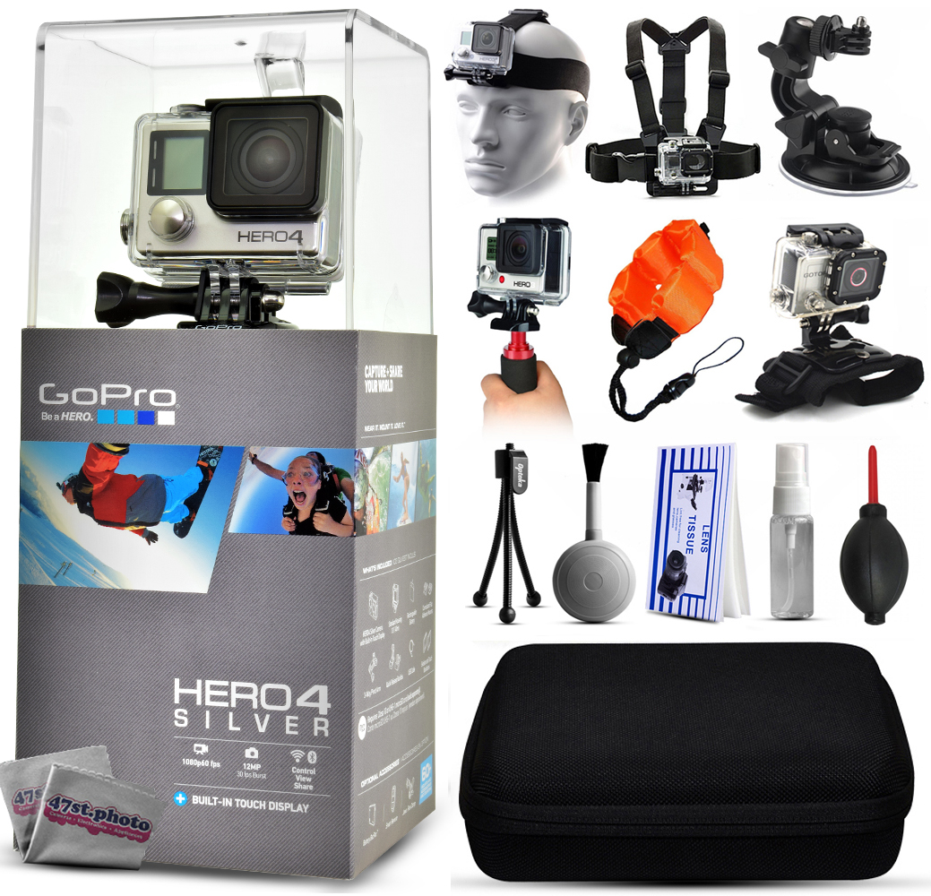 GoPro Hero 4 HERO4 Silver CHDHY-401 with Headstrap + Chest Harness + Suction Cup + Handgrip + Floaty Strap + Wrist Hand Glove + Premium Case + Mini Tripod + Dust Blower + Cleaning Kit
