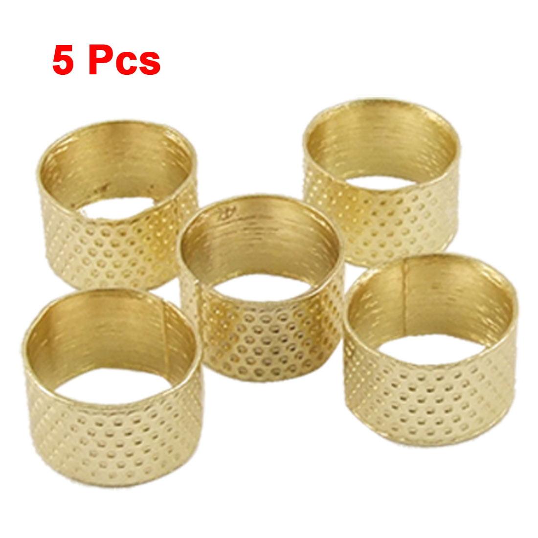 Unique Bargains 5 Pcs Tailors Sewing Gold Tone Reeded Finger Thimble Proctector