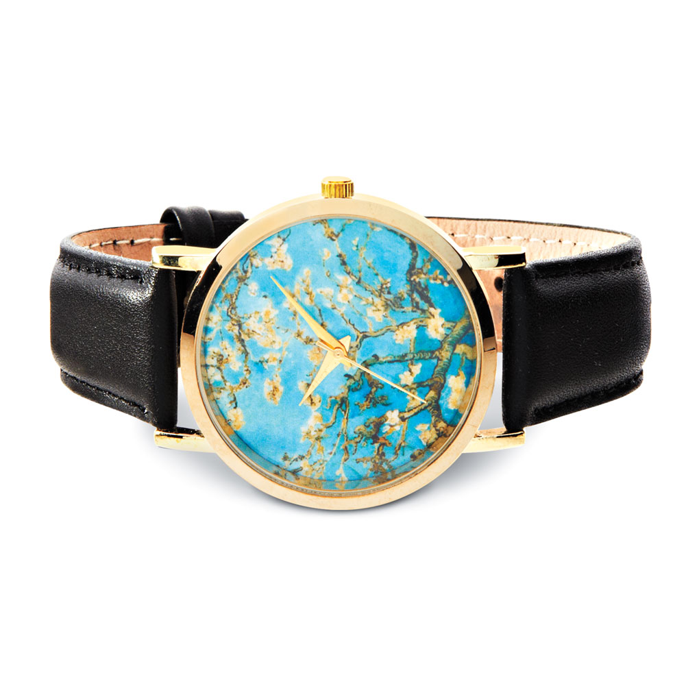 Women's Van Gogh Black Leather Band Watch - Almond