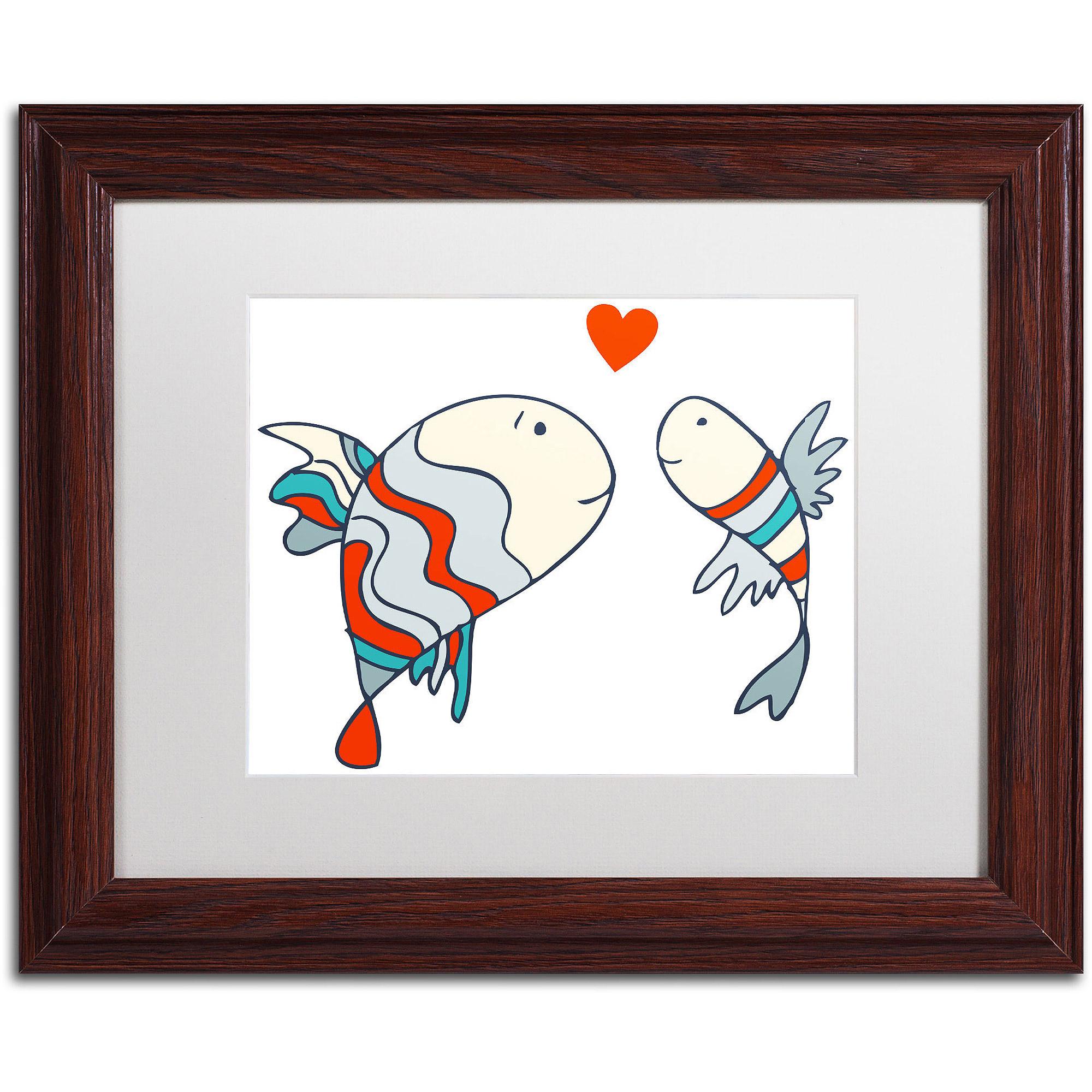 "Trademark Fine Art ""Two Little Fish"" Canvas Art by Carla Martell, White Matte, Wood Frame"
