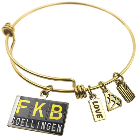 Expandable Wire Bangle Bracelet Fkb Airport Code For Soellingen   Neonblond