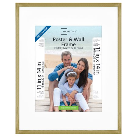 "Mainstays 16""x20"" Matted to 11""x14"" With Mat Brass Metallic Poster and Picture Frame"