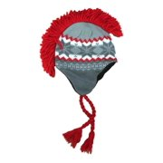 Aquarius Boys Gray & Red Snowflake Print Mohawk Hat Fringe Skull Aviator Trapper