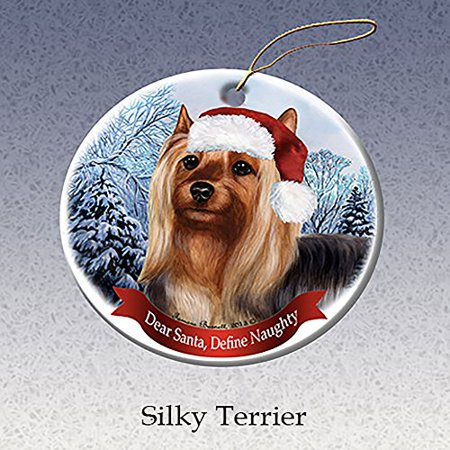 Holiday Pet Gifts Silky Terrier Santa Hat Dog Porcelain Christmas Tree Ornament - Silly Santa Hats