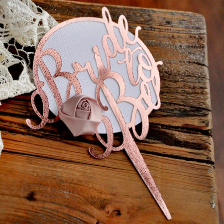 Rose Gold Bridal Shower Cake Topper. Metallic Rose Gold and Woodgrain Cake Topper with Flower. Bridal Shower Ideas. (Easy Halloween Cake Ideas)