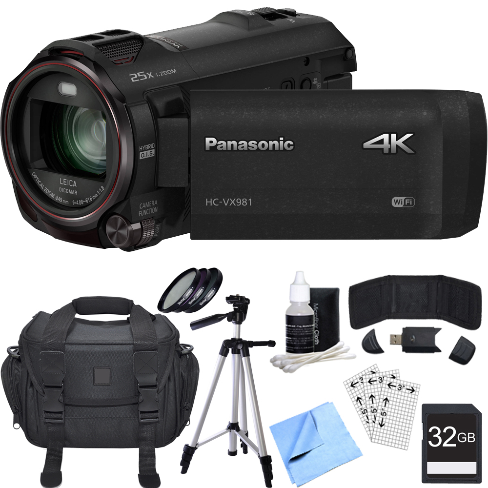 Panasonic HC-VX981K 4K Ultra HD Camcorder 32GB Bundle includes Camcorder, Bag, 32GB SDHC Memory Card, Reader, Wallet, Tripod, 49mm Filter Kit, Screen Protectors, Cleaning Kit and Beach Camera Cloth