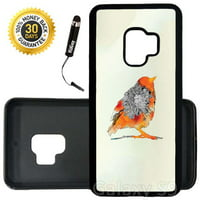 Custom Galaxy S9 Case (Orange Bird Floral Art) Edge-to-Edge Rubber Black Cover Ultra Slim | Lightweight | Includes Stylus Pen by Innosub