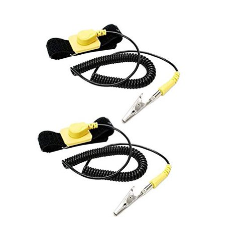 iMBAPrice (Pack of 2) Anti-Static Adjustable Grounding Wrist Strap Components Black, Yellow