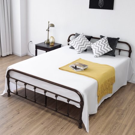 Queen Bed Frame Headboard Footboard - Costway Queen Size Metal Steel Bed Frame W/ Stable Metal Slats Headboard Footboard