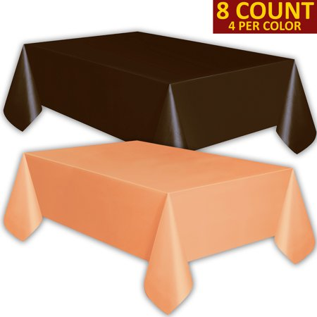 8 Plastic Tablecloths - Brown and Peach - Premium Thickness Disposable Table Cover, 108 x 54 Inch, 4 Each Color