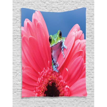 Animal Decor Wall Hanging Tapestry, Cute Tiny Little Tree Frog On Gerbera Flower Magical Nature Moments Shoots Art Photo, Bedroom Living Room Dorm Accessories, By Ambesonne