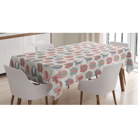 Motion Zoo (Elephant Nursery Decor Tablecloth, Cute Zoo Animal Figures with India Style Culture Motifs Floral Fauna, Rectangular Table Cover for Dining Room Kitchen, 60 X 84 Inches, Multicolor, by Ambesonne)
