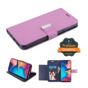 Samsung Galaxy A20 Phone Case Leather Flip ID Credit Card Cash Wallet Holder Stand Pouch Folio Magnet with extra 5 Card Slots Pocket & Kickstand Function Purple Cover for Samsung Galaxy A20 /A205