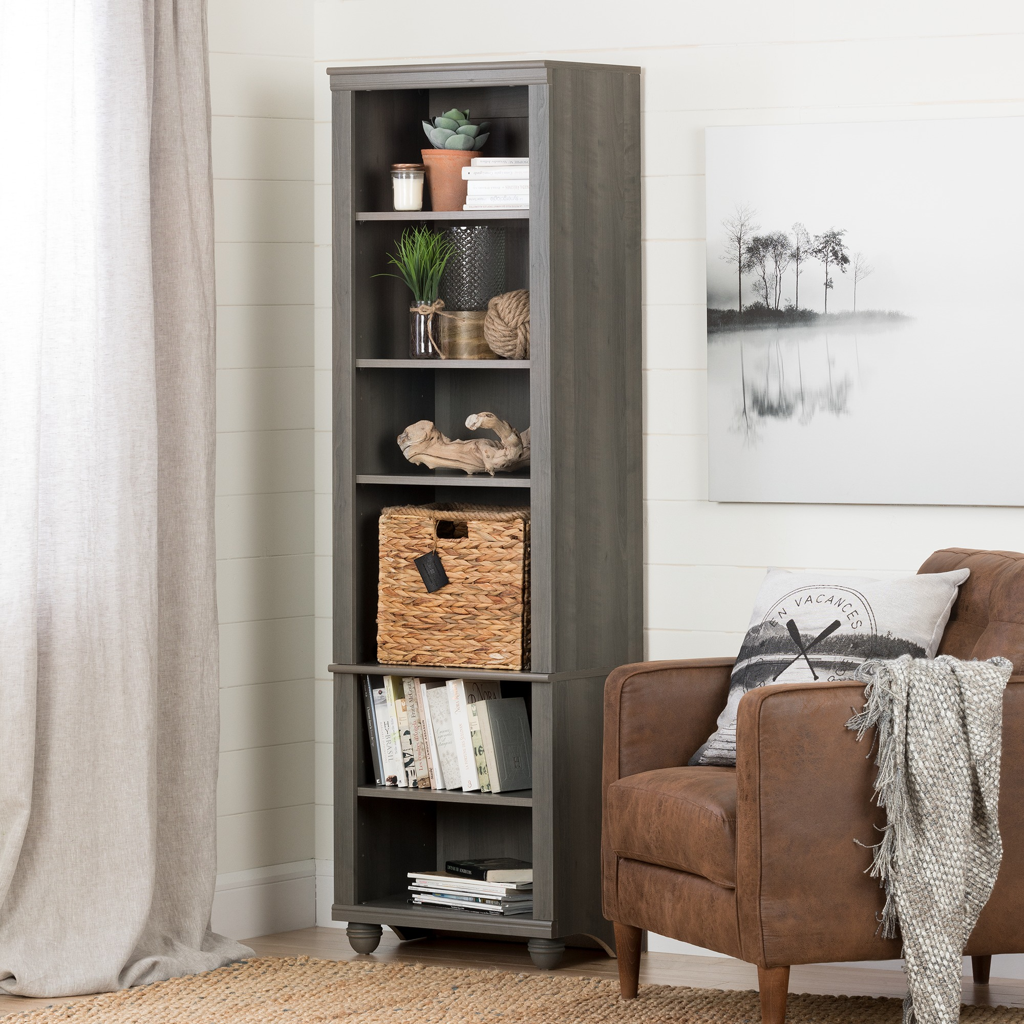 South Shore Hopedale Narrow 6-Shelf Bookcase with Rattan Basket, Multiple Finishes