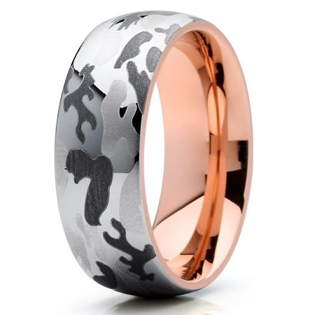 8mm Tungsten Wedding Band Camouflage Camo Tungsten Ring 18K Rose Gold Tungsten Carbide Army Navy Marine Ring