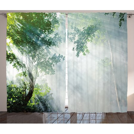 Rainforest Decorations Curtains 2 Panels Set, Sunbeam Between Shadows Of Trees Idyllic Scenery Of Solitude In Jungle Theme, Living Room Bedroom Accessories, By Ambesonne