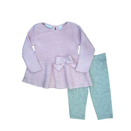 First Impressions Infant Girl 2 PC Set Pink Bow Sweater Shirt Gray Leggings